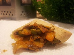 Sweet potato and pea samosa