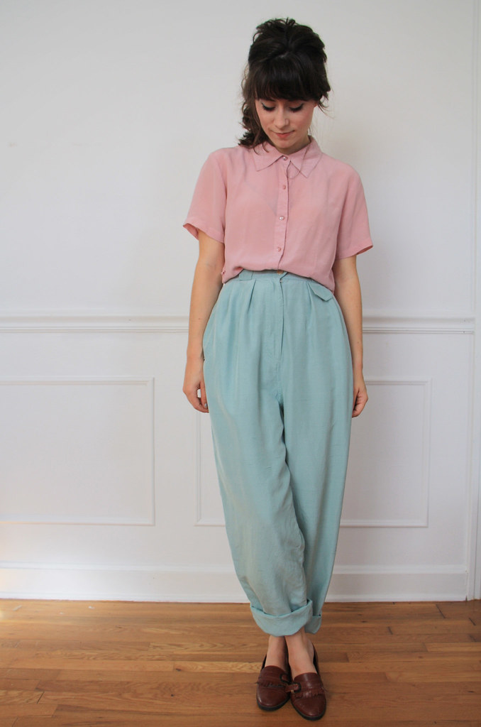 vintage mint green silk pants