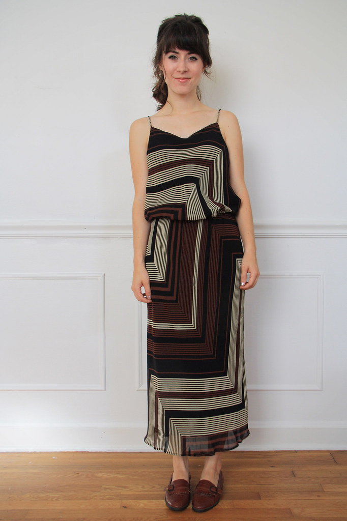 1970s geo print dress