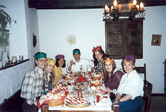 1994 Christmas dinner for teachers in Aríñez. Luis's daughter is starting in the school this year