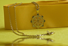 coin purse(0.0), handbag(0.0), yellow(1.0), jewellery(1.0), chain(1.0), gold(1.0), necklace(1.0), gold(1.0),