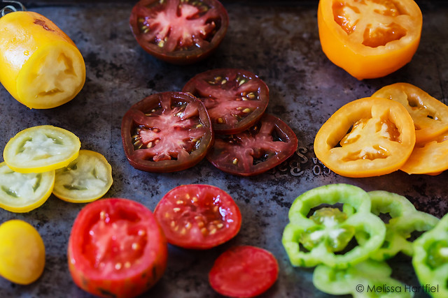 Sliced orange, yellow, red, striped and green tomatoes