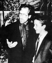Steven Spielberg and Christian Bale Empire of the Sun 1987 Hollywood Premiere