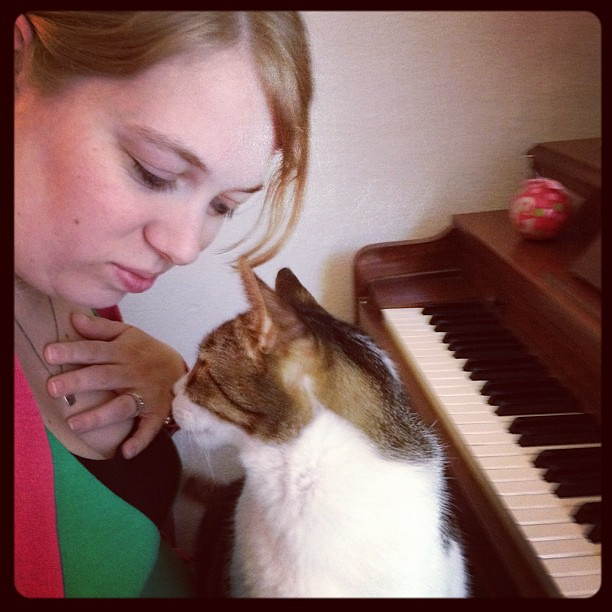 I decided to sit down and play piano. Stank had other ideas....
