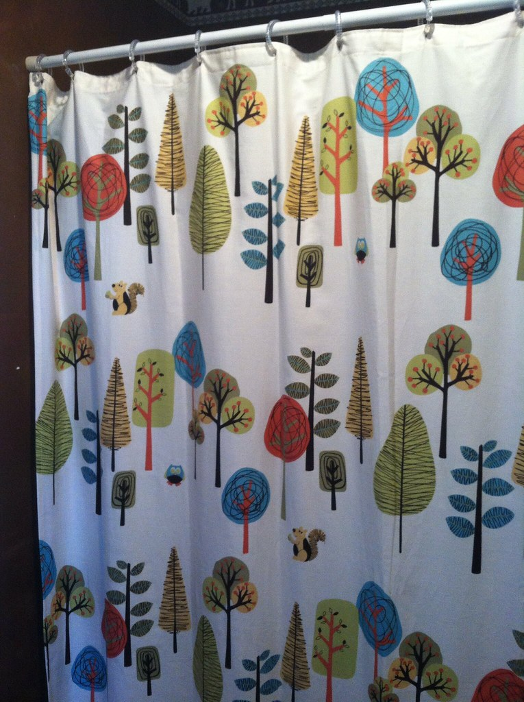 Shower Curtain With A Woodland Animal Theme 1000