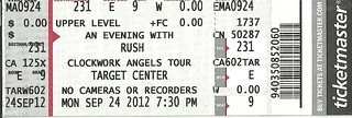 09/24/12 Rush @ Target Center, Minneapolis, MN (Ticket)