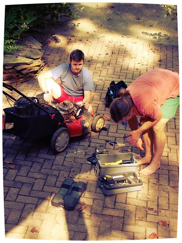 fixin' the lawn mower