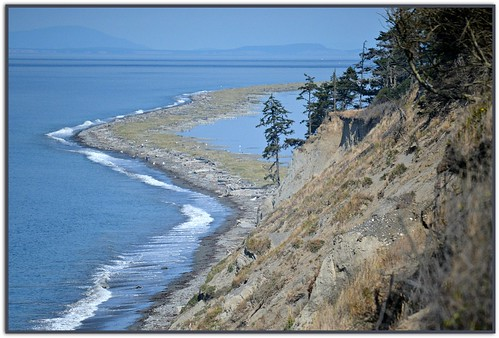 blue camping trees sea cliff usa seascape mountains beach nature water grass fence islands washington waves olympicpeninsula sequim trail pacificnorthwest sanjuanislands seashore bluff 109 straitofjuandefuca dungenessspit dungenessrecreationarea