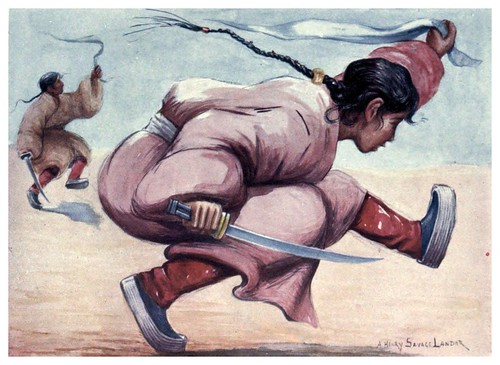004-Danza tibetana con espada-Tibet & Nepal-1905-A. H. Savage-Landor
