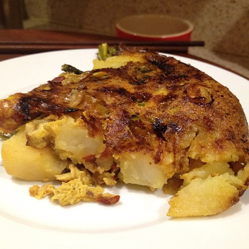Spanish tortilla even came out sorta like it had eggs in it. Didn't know if veganizing it would have worked.