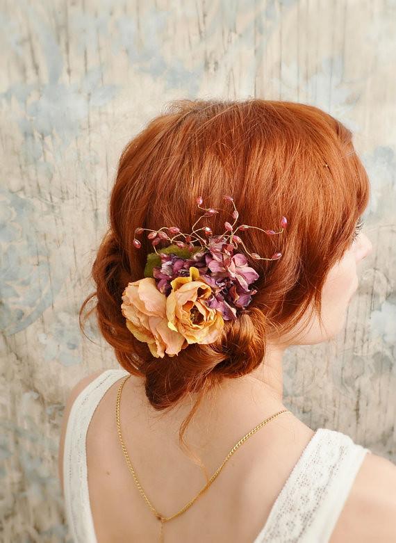 Rustic hair comb-burnt orange flower comb