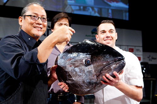 Chef Masaharu Morimoto's, his sous chef for Morimoto NY holding the large Big Eye tuna head