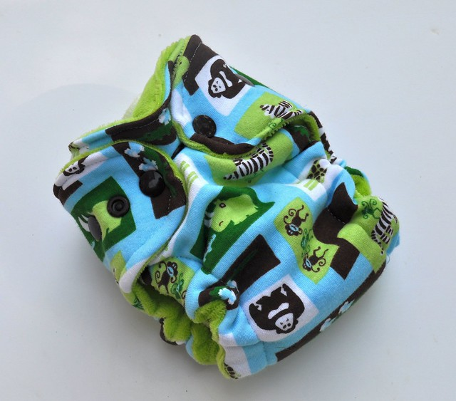 Bumstoppers Newborn Hybrid FittedMCZ Mint Chocolate Zoo **New Style**