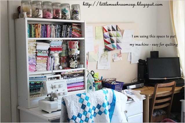 My little sewing side - beside our bed