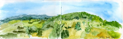trees moleskine watercolor painting landscape sketch oaks sketchwalk