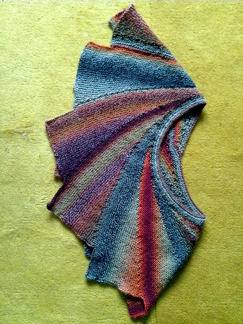 Knitted Pattern For Wingspan Scarf : Wingspan Shawl Knitted using Crazy Zauberball yarn. I knit? Flickr - Phot...