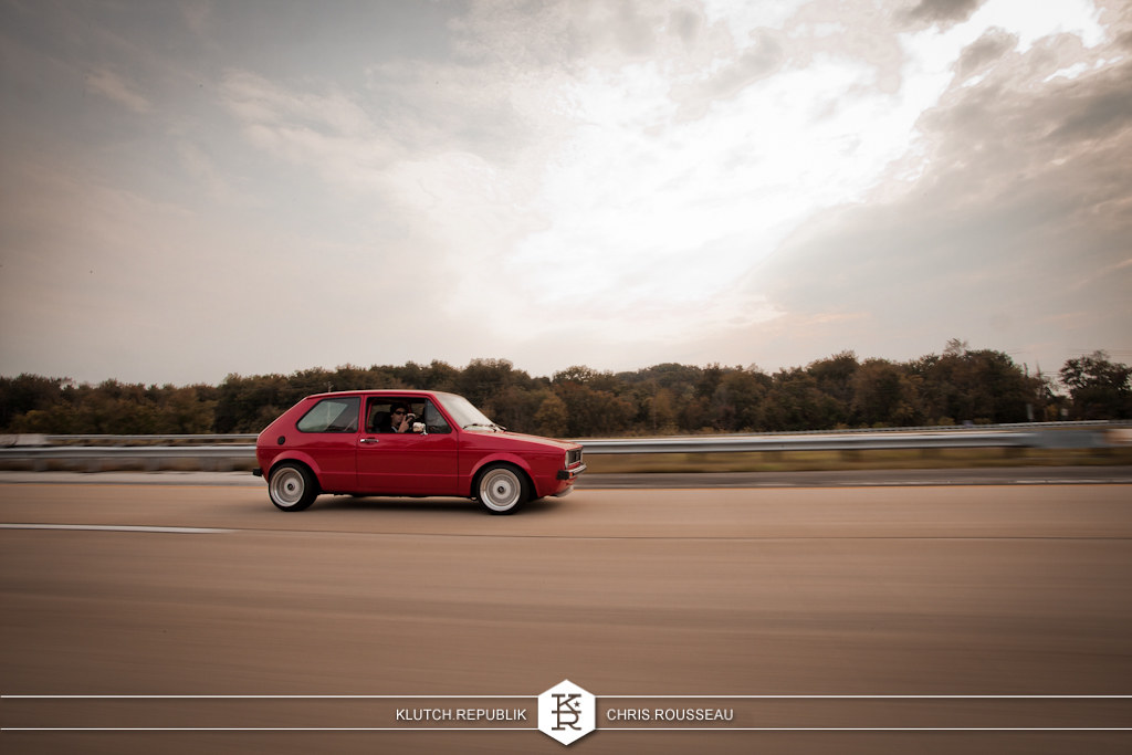 red vw mk1 golf gti 3.2 vr6 r32 swap  at h2oi 2012 3pc wheels static airride low slammed coilovers stance stanced hellaflush poke tuck negative postive camber fitment fitted tire stretch laid out hard parked seen on klutch republik