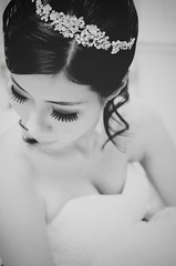 [Free Images] People, Women - Asian, Events, Wedding, Wedding Dress, Black and White ID:201210120200