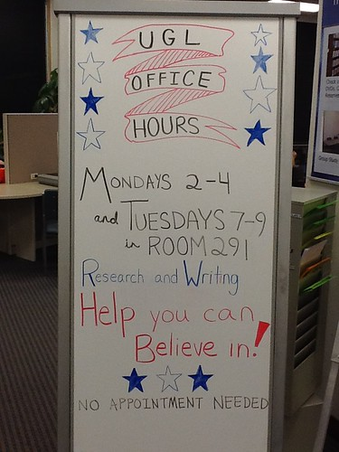 Picture of the Office Hours bulletin board in the UGL