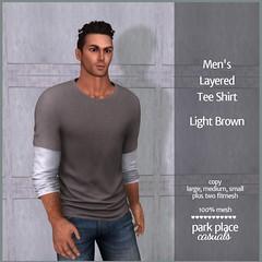 [PP Casuals] Men's Layered Tee Shirt - Light Brown
