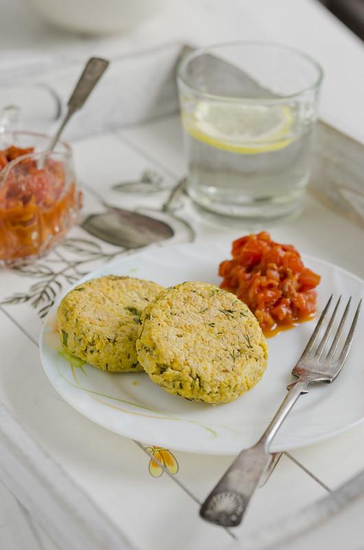 chickpea pancakes with tomato jam_