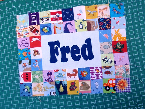 WIP - personalised I spy quilted placemat, Fred