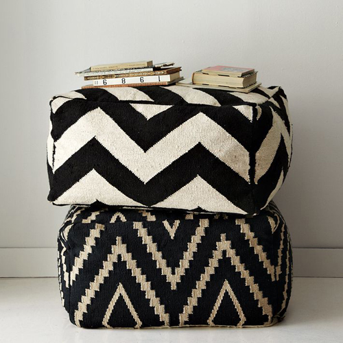 Black amp White Poufs THE STYLE FILES