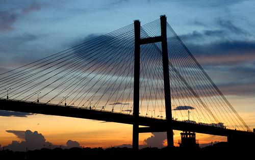 bridge sunset sky india colors ngc september kolkata calcutta ghat vidyasagar setu princep