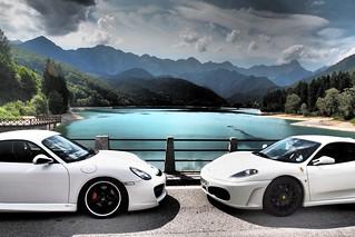 イタリア、バーシス湖畔で