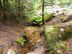 Tour de la plaine d'Uovacce : exploration traces cairnées vers Malpaseu avec le ruisseau en bas du versant du chaos de blocs