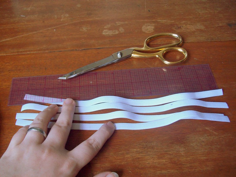 "cut 4 - 12"" pieces of elastic"