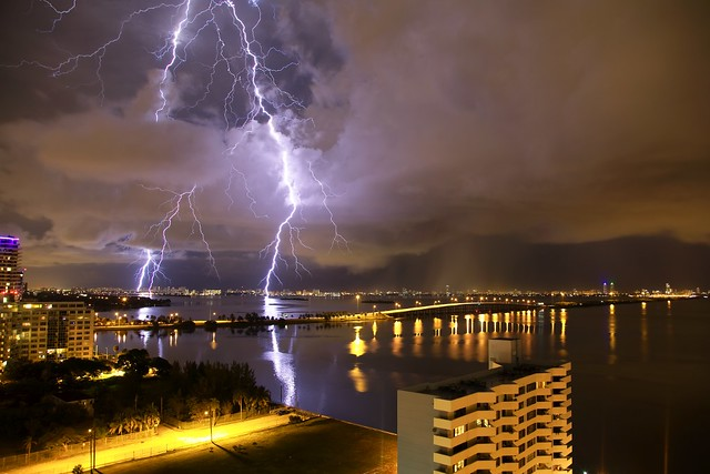Lightning over the Julia Tuttle Causeway