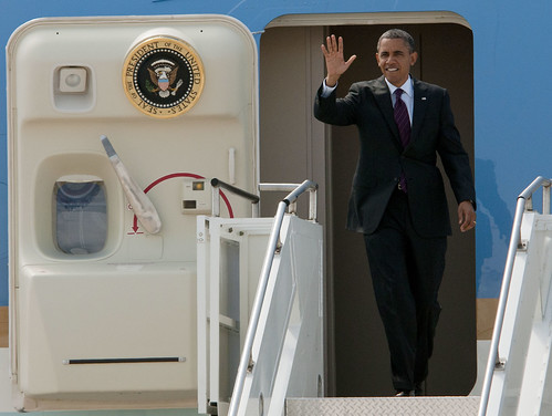 President Barack Obama waves to the crowd.
