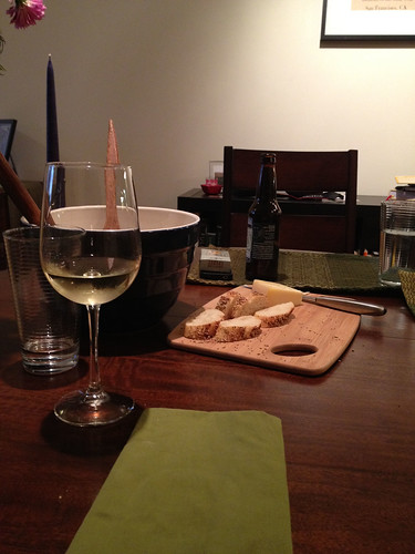 Cheese, bread, wine