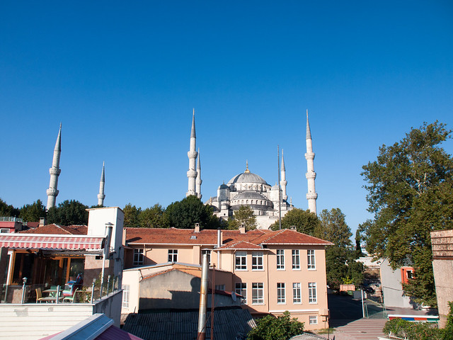 View of Blue Mosque from restaurant terrace
