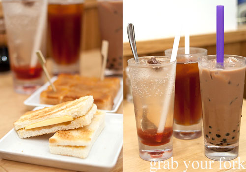 kaya toast, sour plum soda, teh o and milo pearls at toast box, marina bay sands singapore
