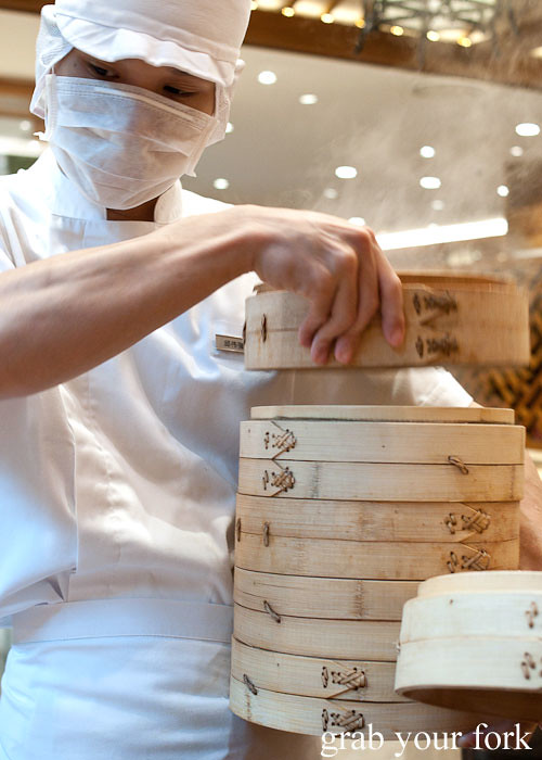 dumplings in bamboo steamers at din tai fung, marina bay sands singapore