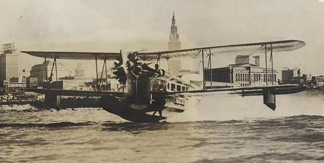 Seaplane taking off from Cleveland Harbor, 1931