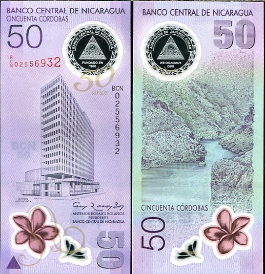50 Córdobas Nikaragua 2010, polymer Pick 207