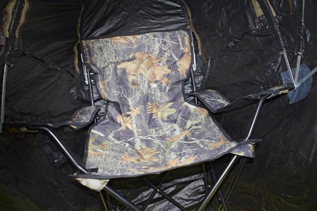 Tente chaise affût. Vue de l'intérieur