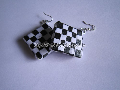 Handmade Jewelry - Paper Weave Earrings (Square) (2) by fah2305
