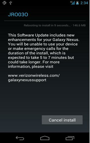 Galaxy nexus Android 4.1 update