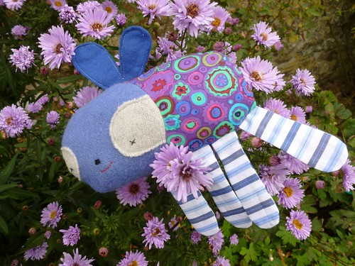 Beetle bug in the Asters. Made from pattern in book called 'Softies' .