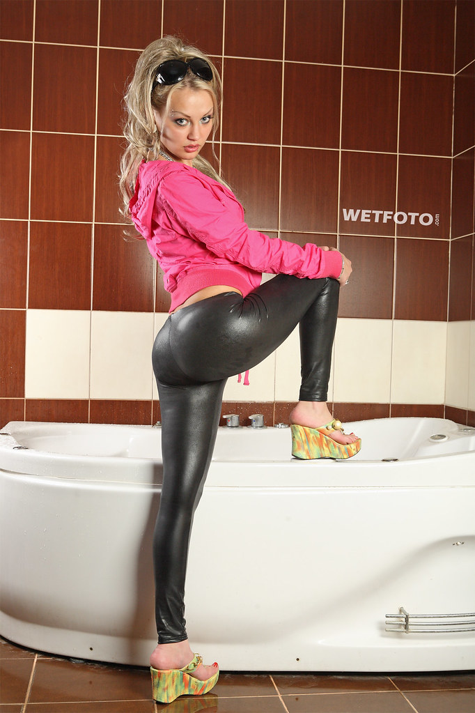 Wet look leggings porn