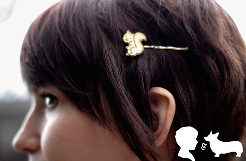 Photo of my Squirrel Hairpins by Katherine who writes the blog Of Cocktails and Corgis.