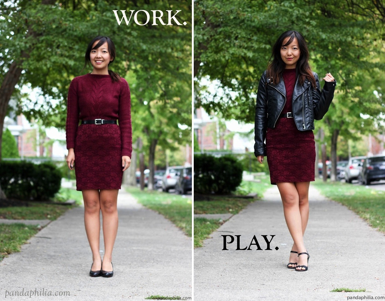 burgundy wine day to night outfit