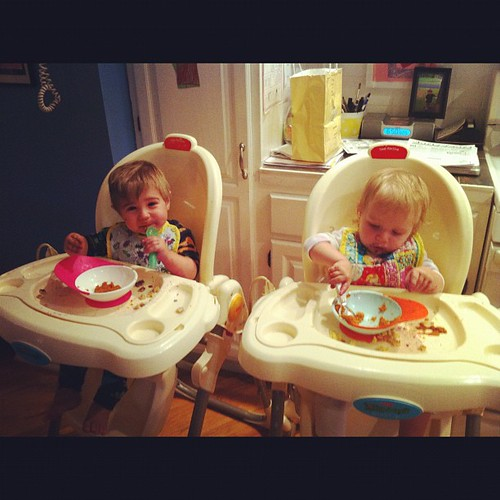 First time with their own spoons=fun. And MESS.