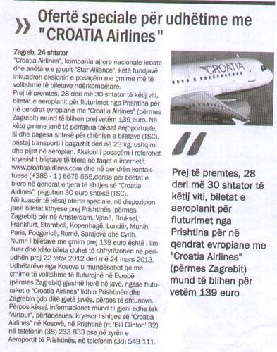 """Ofertë speciale për udhëtime me """"CROATIA Airlines"""""""