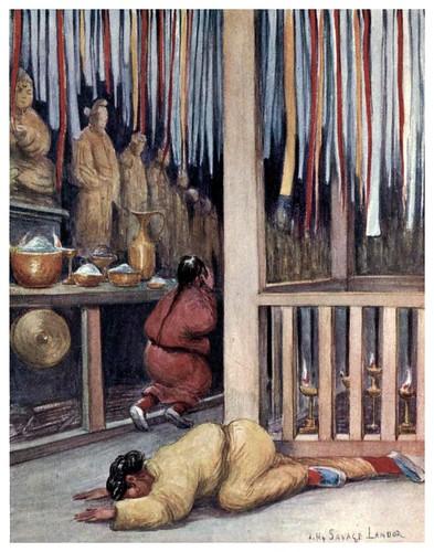 006-Interior de un templo tibetano-Tibet & Nepal-1905-A. H. Savage-Landor