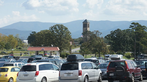 Luray Caverns Parking Lot, Gas Station, and Singing Tower